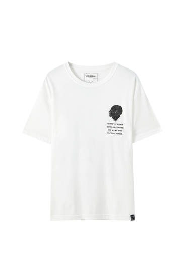 White T-shirt with print and slogan