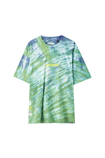 STWD T-shirt with green tie-dye