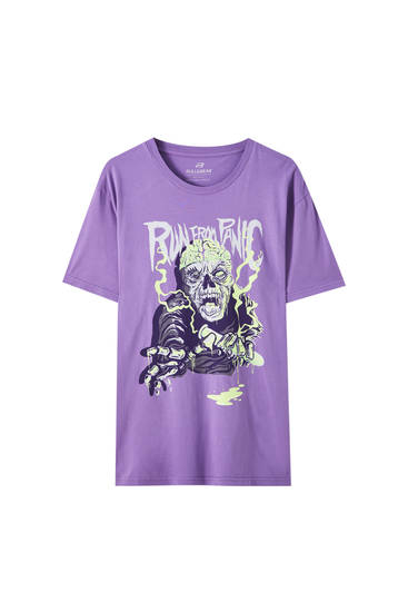 "T-shirt med ""Run from panic""-skelet"