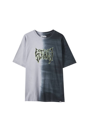 STWD tie-dye colour block T-shirt