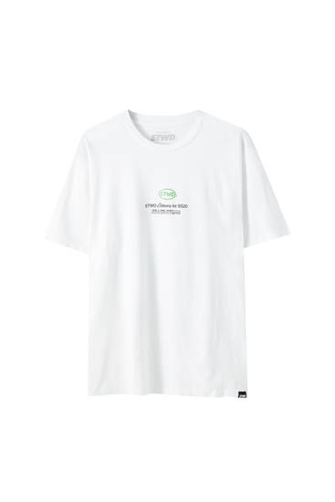 White oversize slogan T-shirt