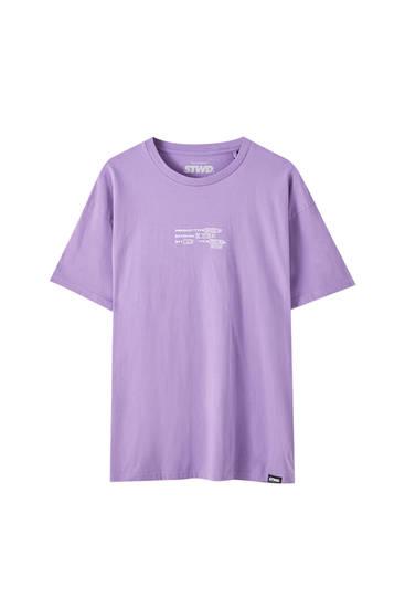 Oversize, violet T-shirt med slogan