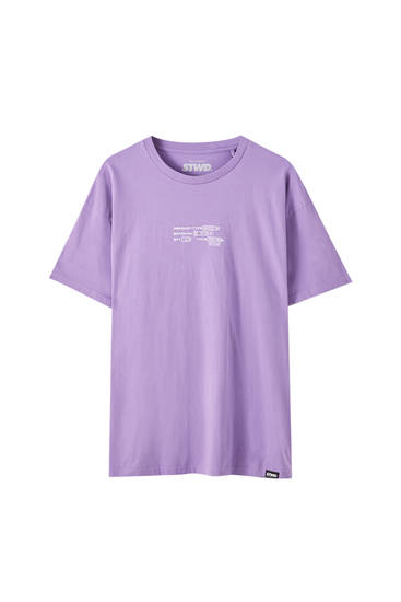T-shirt violet oversize avec inscription