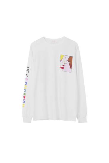 Playera Sex Education x Pull&Bear blanca texto multicolor