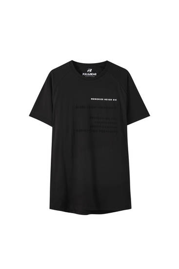 Black T-shirt with embroidered slogan