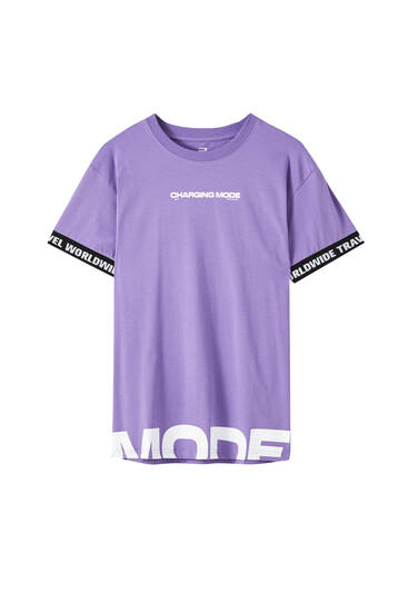 Violet muscle fit T-shirt with slogan