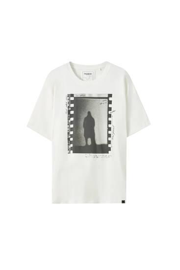 White negative photo print T-shirt