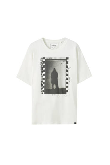 White negative photo print T-shirt