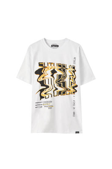 Printed oversized white T-shirt