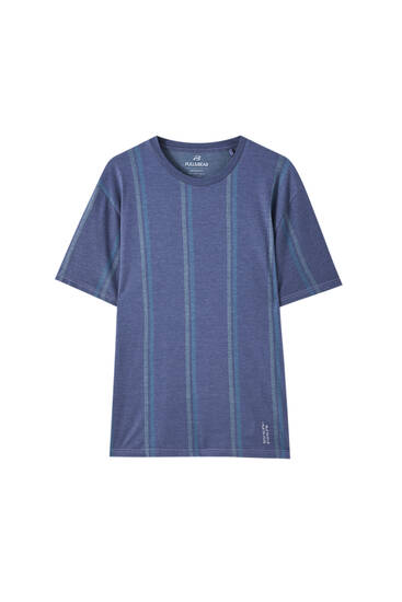 Blue vertical stripe T-shirt