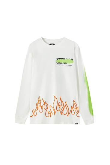 White T-shirt with slogan and flames
