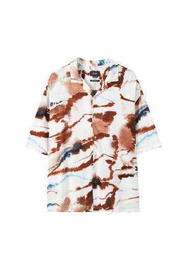 White shirt with watercolour print