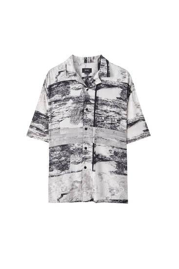 Grey marble print shirt