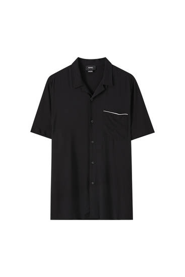 Black shirt with contrast pocket