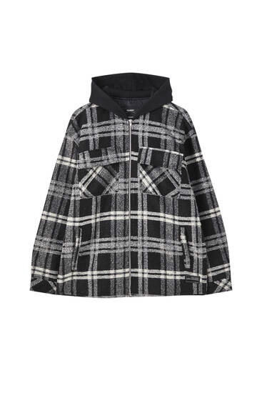 Checked overshirt with contrast hood