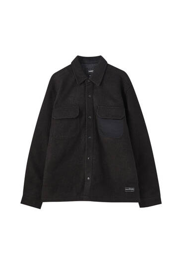 Black wool blend overshirt