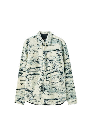 Printed faux shearling overshirt