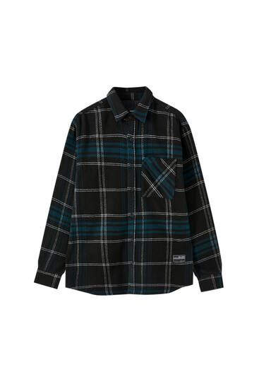 Navy check overshirt
