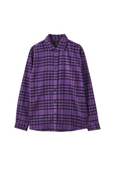 Coloured contrast check shirt