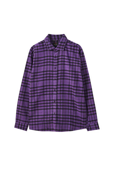 Coloured contrast check shirt