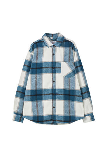 Overshirt with a contrast colour block check print