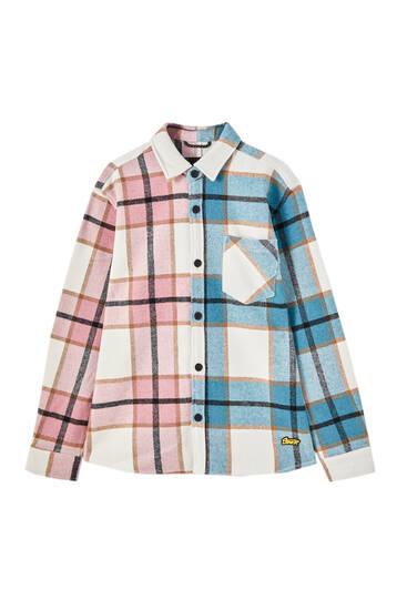 Kostkovaná svrchní košile patchwork