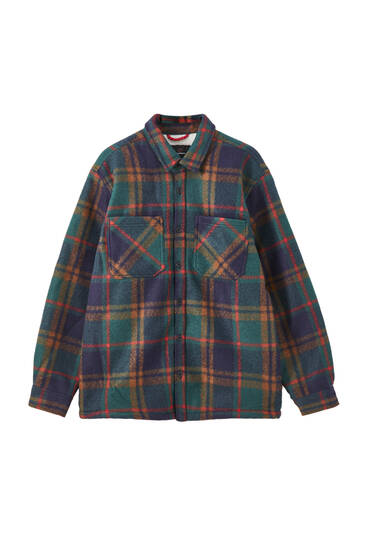 Faux shearling check print overshirt