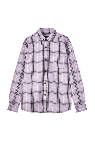 Violet check shirt