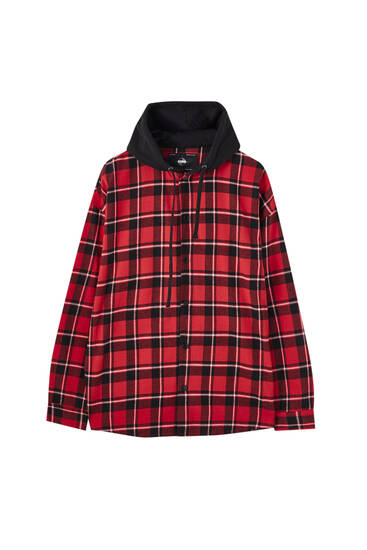 Rödrutig skjortjacka med huva