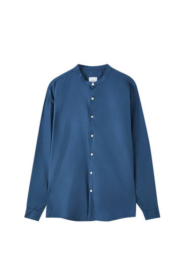 Basic long sleeve shirt with stand-up collar