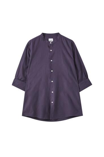 Μακρυμάνικο πουκάμισο basic με γιακά μάο