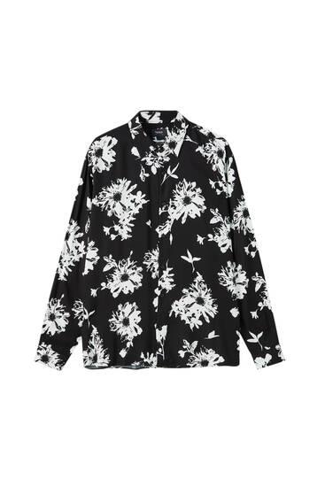 Contrast floral print shirt