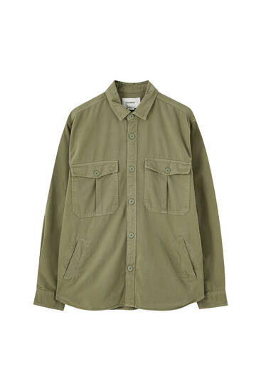 Twill overshirt with long sleeves