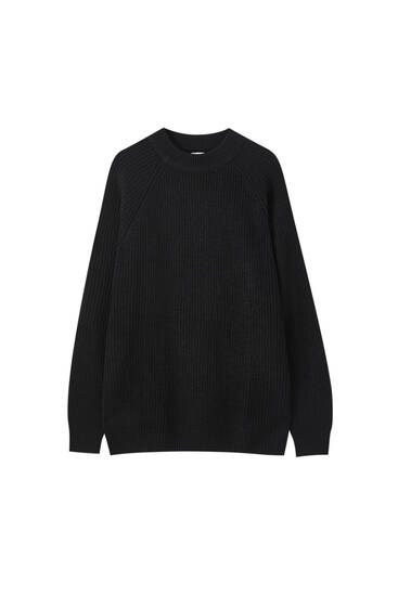 Brioche stitch high neck sweater