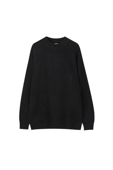 Pullover mit geripptem Stehkragen und Vollpatentmuster