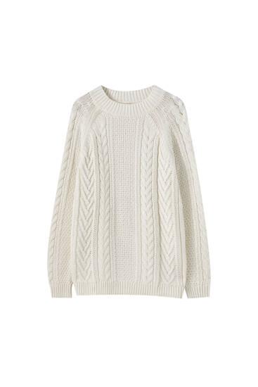Pullover mit Zopfmuster und geripptem Stehkragen