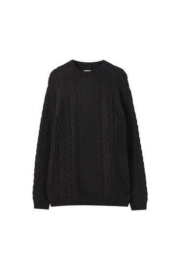 Cable-knit high-neck sweater