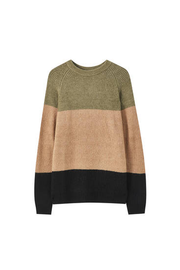 Colour block brioche stitch sweater