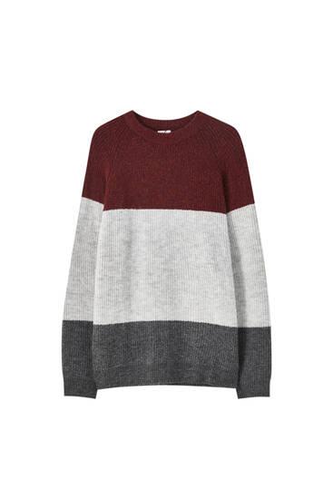 Colour block brioche stitch sweater