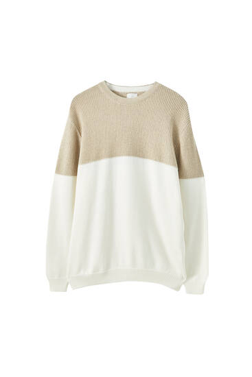 Textured contrast sweater