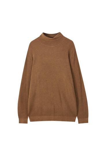 Gerippter Basic-Pullover mit Rollkragen