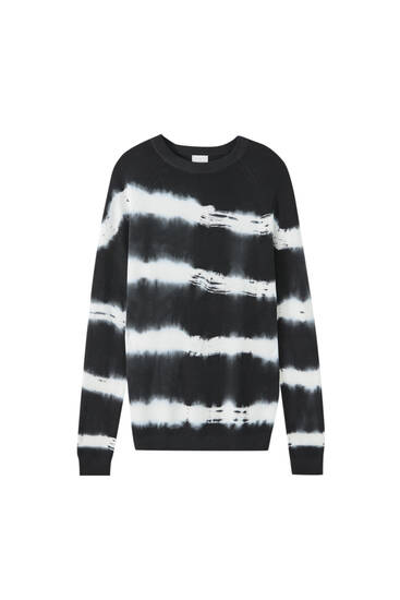 Striped tie-dye sweater
