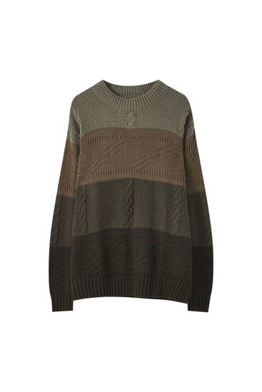 Cable-knit colour block sweater