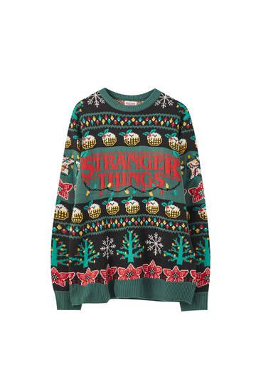 "Zöld ""Stranger Things"" karácsonyi pulóver"