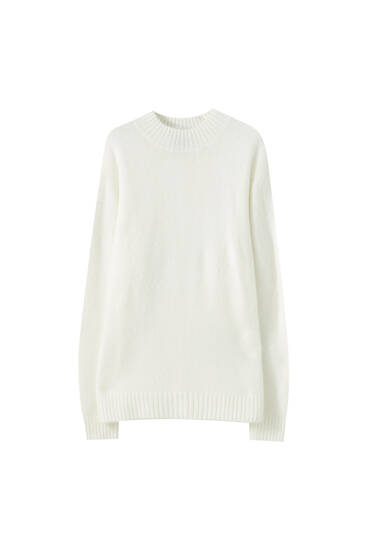 High-neck soft sweater