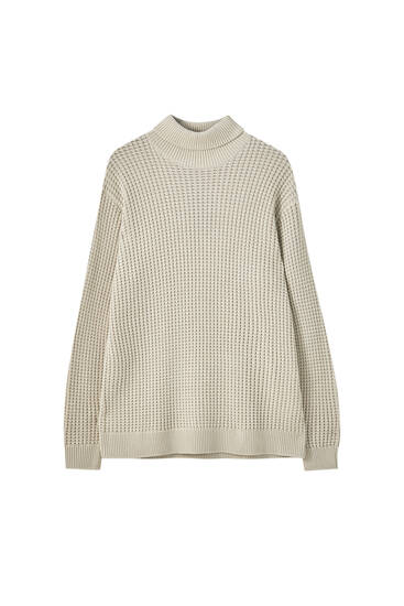 Textured high neck knit sweater