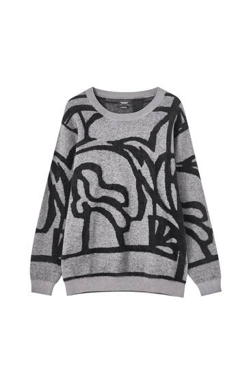 Grey jacquard print sweater