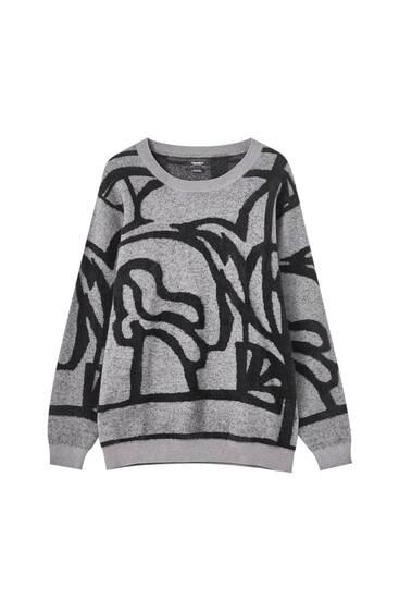 Szürke jacquard-mintás pulóver