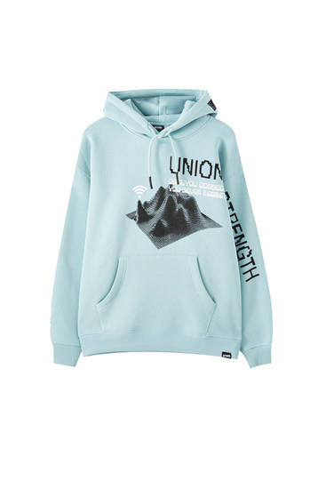 Green hoodie with illustration and slogan