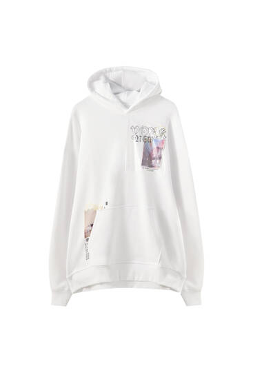 White sweatshirt with photo